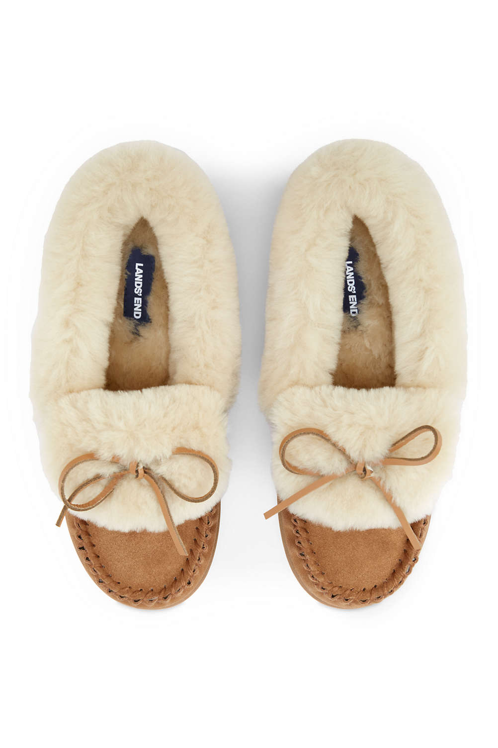 41233d12846 Women s Suede Shearling Moccasin Slippers from Lands  End