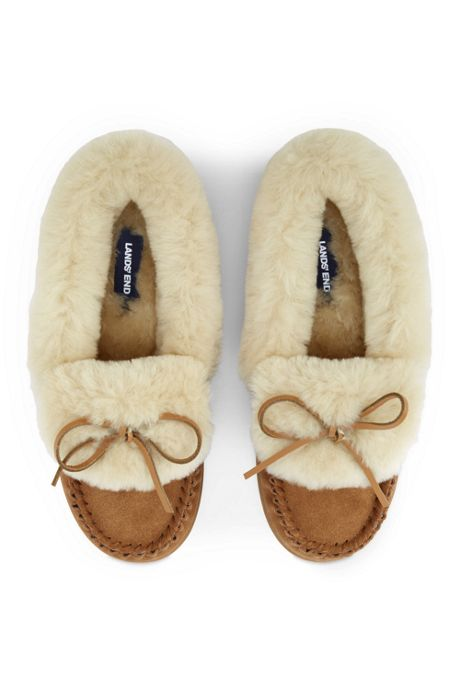 Women's Suede Shearling Moccasin Slippers