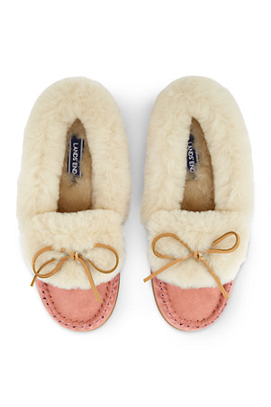 4c485f94f5b69 Women's Suede Moccasin Slippers with Shearling Collar | Lands' End