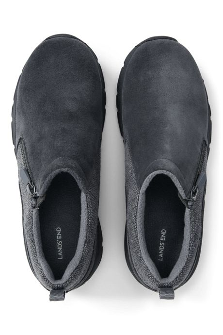 School Uniform Women's Winter All Weather Suede Leather Zip Moc Shoes