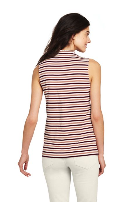 Women's Tall Sleeveless Stripe Mock Neck Top