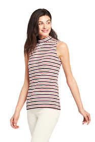 Women's Petite Sleeveless Stripe Mock Neck Top