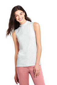 Women's Sleeveless Stripe Mock Neck Top
