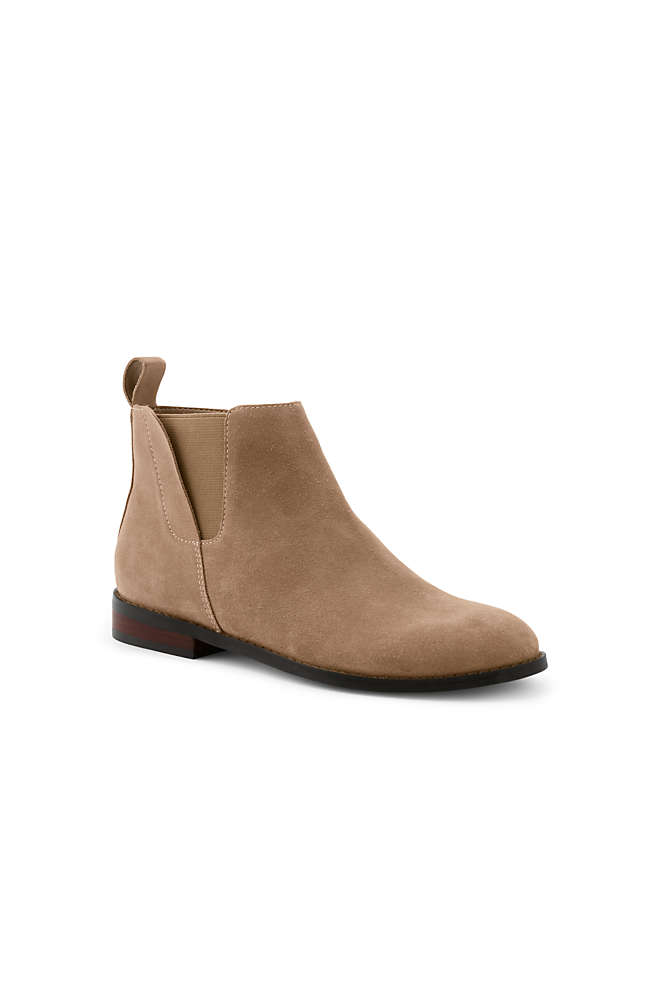Women's Suede Leather Side Zip Chelsea Boots, Front