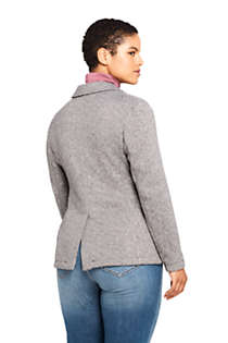 Women's Plus Size Textured Sweater Fleece Blazer, Back