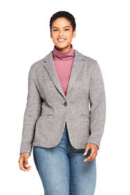 Women's Plus Size Textured Sweater Fleece Blazer