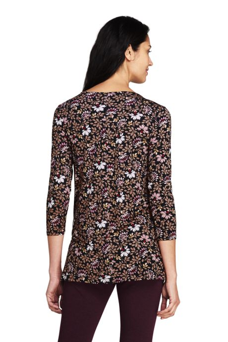 Women's 3/4 Sleeve Print Knot Neck Tunic
