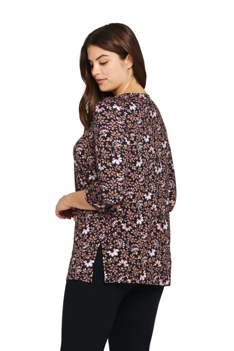 Women's Plus Size 3/4 Sleeve Print Knot Neck Tunic