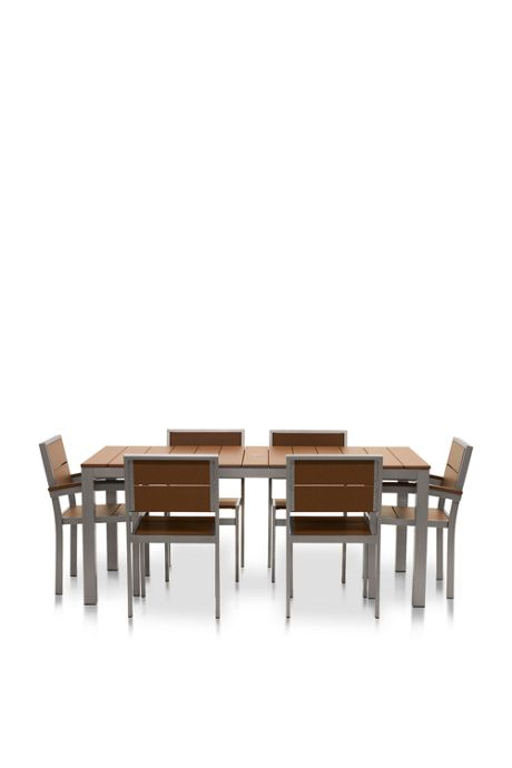 All-Weather Recycled Rectangle Dining Set 6 Chairs