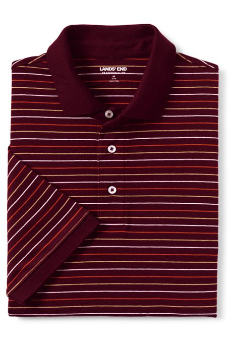 Men's Short Sleeve Stripe Super Soft Supima Polo Shirt
