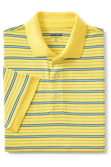 Men's Tall Short Sleeve Stripe Super Soft Supima Polo Shirt