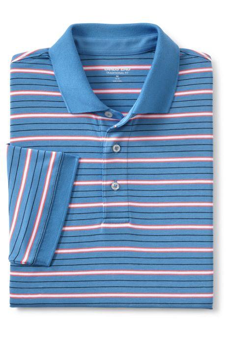 Men's Short Sleeve Stripe Super Soft Supima Polo Shirt