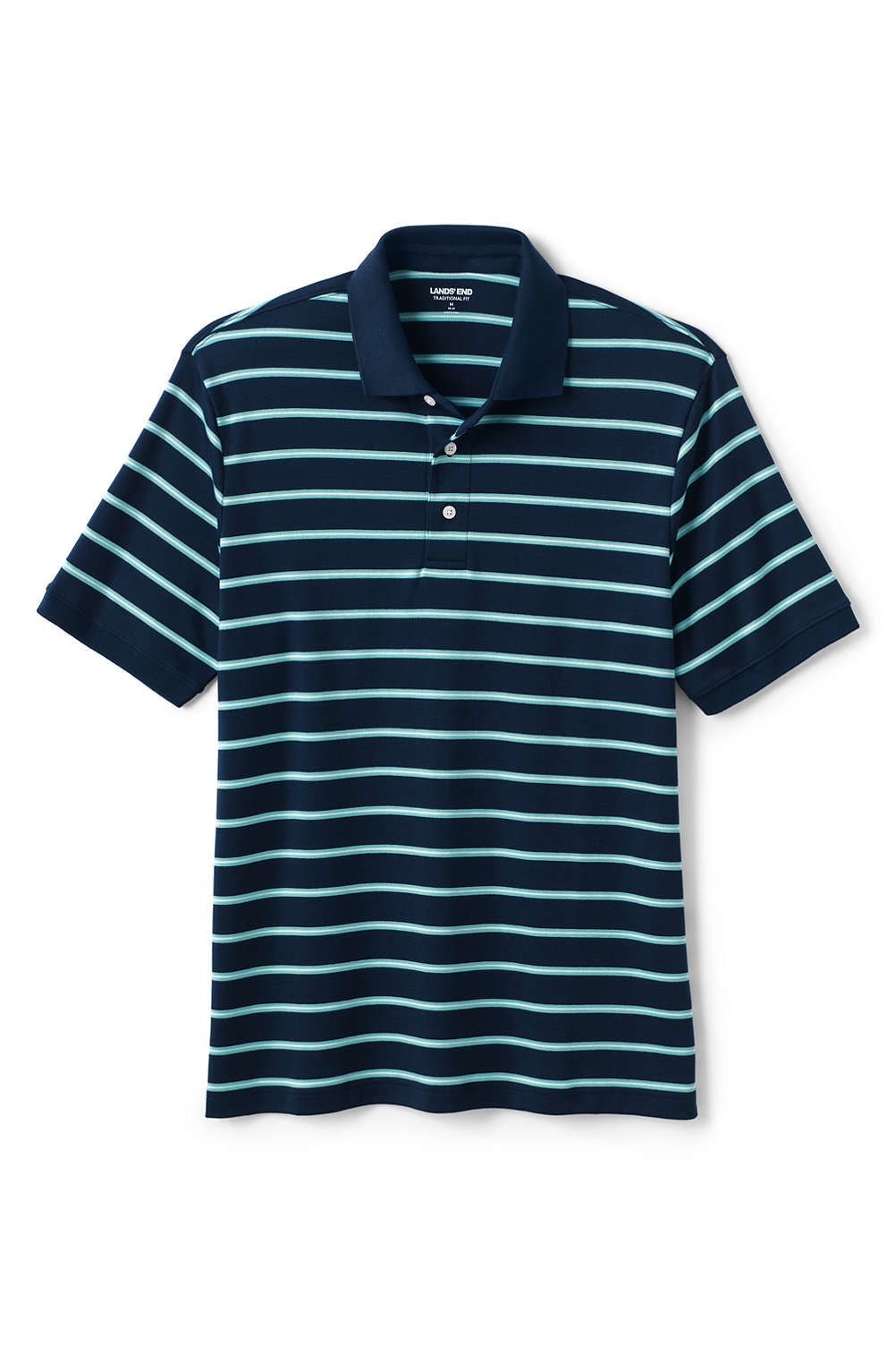 5c0ca879f61 Men s Short Sleeve Striped Supima Polo from Lands  End