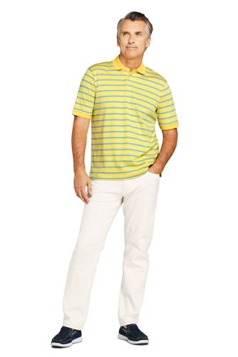 Men's Tall Short Sleeve Stripe Super Soft Supima Polo Shirt