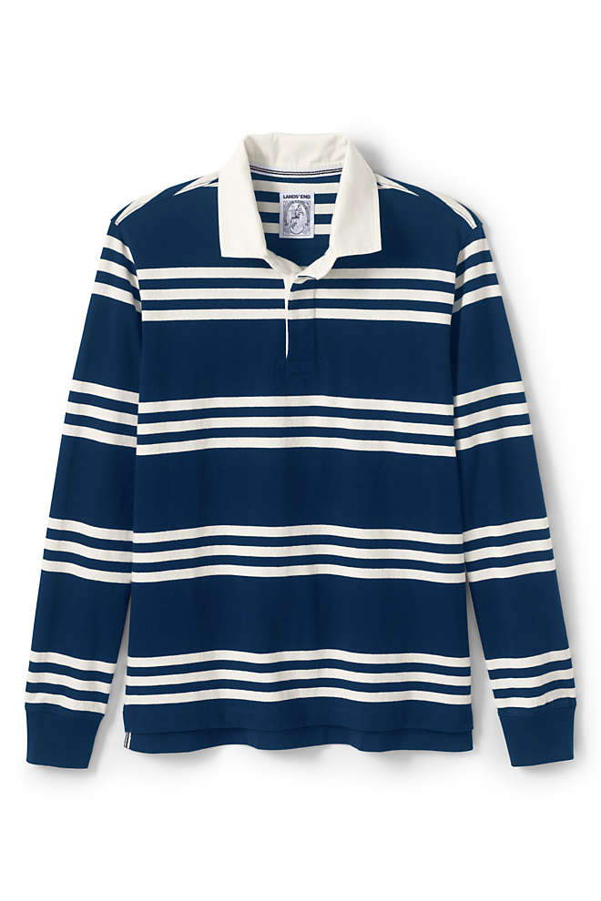 Men's Tall Long Sleeve Stripe Rugby Shirt, Front