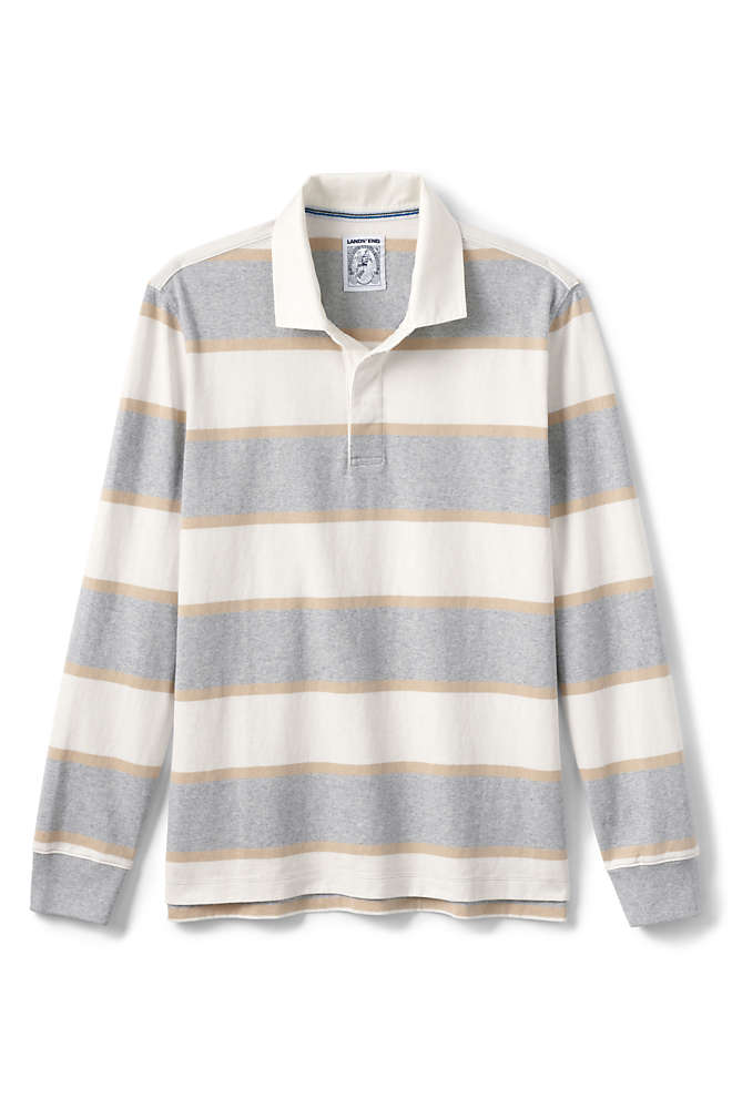 Men's Long Sleeve Stripe Rugby Shirt, Front