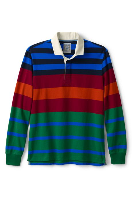 Men's Long Sleeve Stripe Rugby Shirt