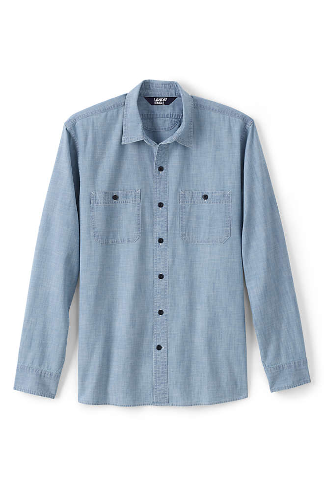 Men's Tall Tailored Fit Chambray Work Shirt, Unknown
