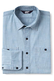 Men's Tall Tailored Fit Chambray Work Shirt, Front