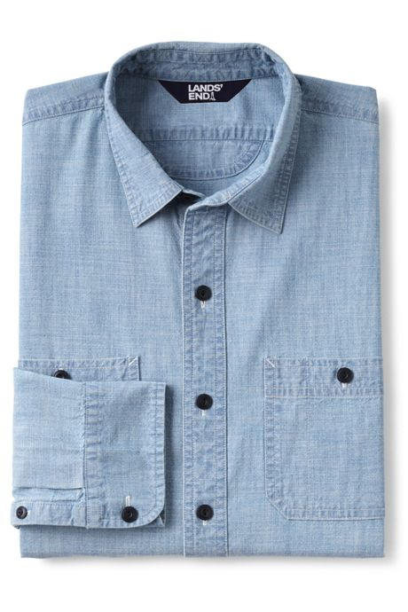 Men's Big and Tall Traditional Fit Chambray Work Shirt