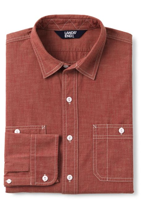 Men's Tall Traditional Fit Chambray Work Shirt