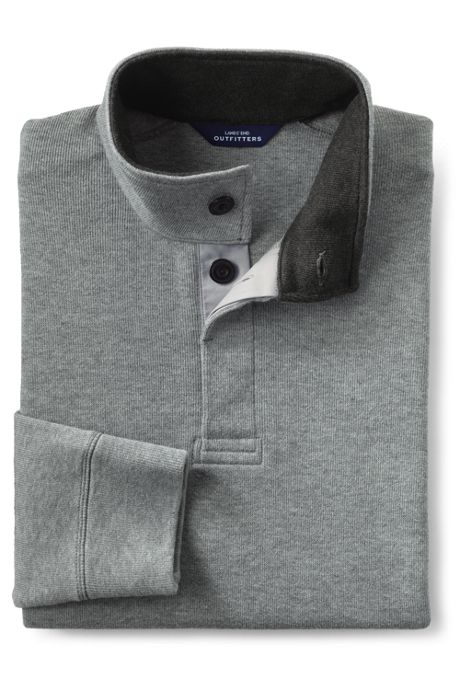 Men's Big Bedford Rib Heather Button Through Popover