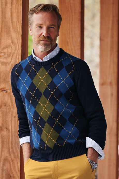 Men's Tall Cotton Drifter Argyle Crew Sweater