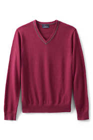 Men's Tall Fine Gauge Supima Cotton Tipped V-neck Sweater