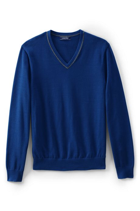 Men's Fine Gauge Supima Cotton Tipped V-neck Sweater