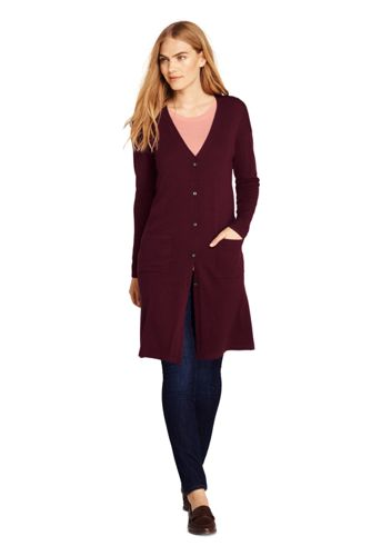 Women's Petite Merino Long Cardigan