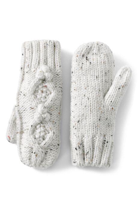 Women's Aran Popcorn Knit Mittens