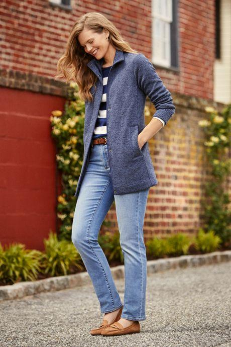 Women's Mid Rise Straight Leg Jeans - Blue