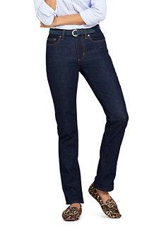 Le Jean Indigo Stretch Droit Taille Mi-Haute, Femme