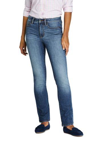 Farbige Straight Fit Jeans Mid Waist für Damen | Lands' End