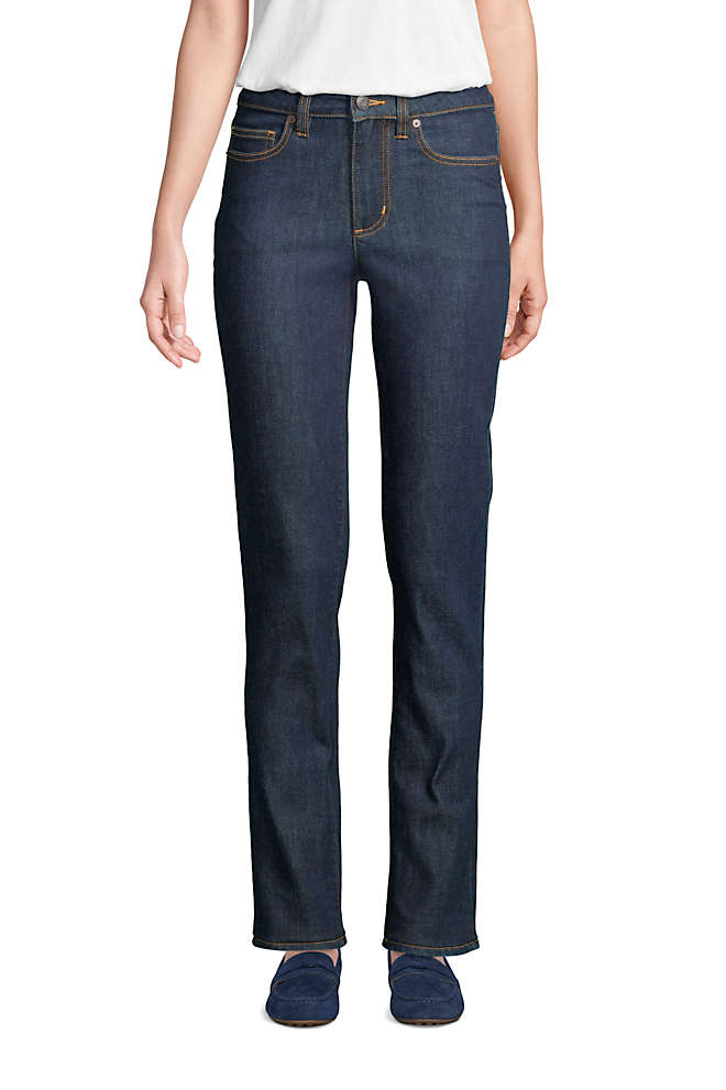 Women's Mid Rise Straight Leg Jeans - Blue, Front