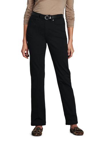 Women's High Waisted Black Jeans, Straight Leg
