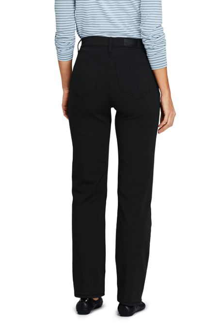 Women's High Rise Straight Leg Twill Jeans - Black