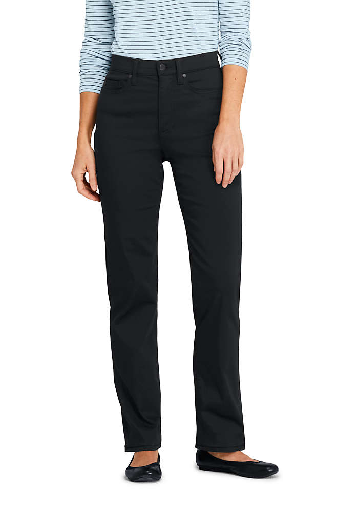 Women's Tall High Rise Straight Leg Twill Jeans - Black, Front