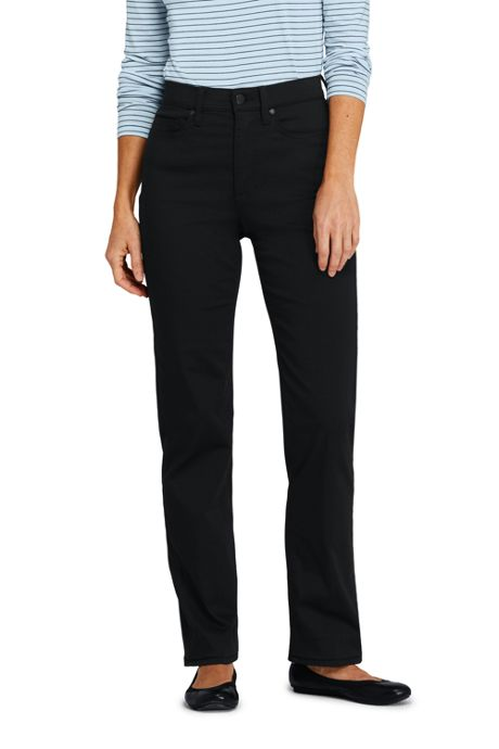 Women's Petite High Rise Straight Leg Black Jeans