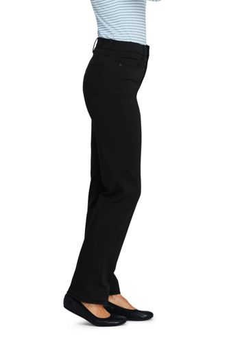 Women's Petite High Rise Straight Leg Twill Jeans - Black
