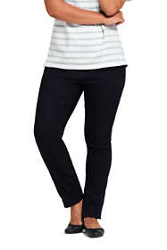Women's Plus Size Elastic Waist Pull On Skinny Legging Twill Jeans - Black
