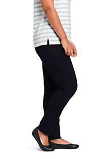 Women's Plus Size Elastic Waist Pull On Skinny Legging Twill Jeans - Black, Unknown