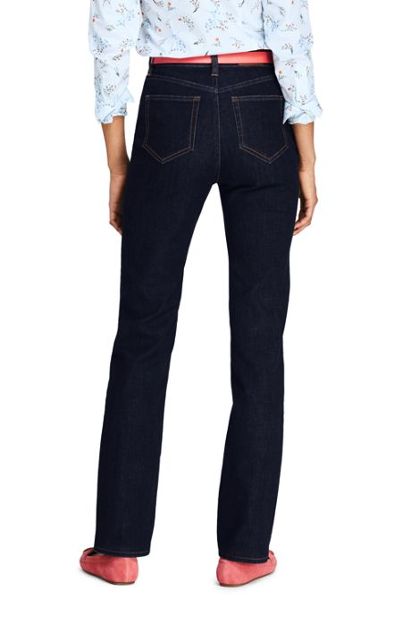 Women's Petite High Rise Straight Leg Blue Jeans