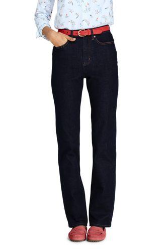 Straight Fit Taillenhohe Dark Rinse Jeans für Damen
