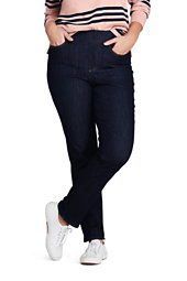 Lands' End Women's Plus Size Mid Rise Pull-on Straight Jeans
