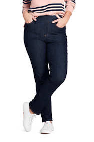 Women's Plus Size Mid Rise Pull-on Straight Leg Jeans