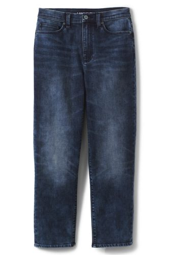 Taillenhohe Stove Pipe Jeans in Indigo für Damen | Lands' End