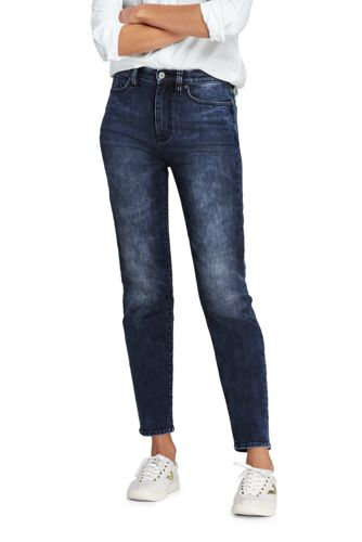Women's High Waisted Indigo Stove Pipe Ankle Jeans