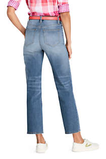 Women's Petite High Rise Stove Pipe Ankle Jeans, Back