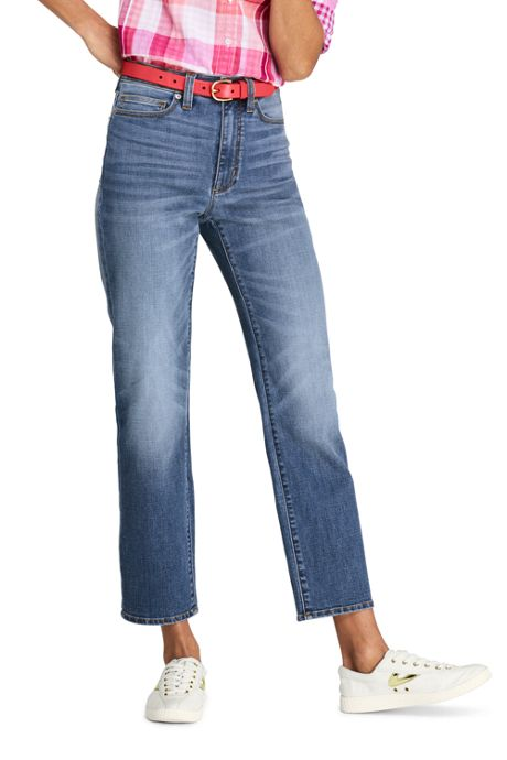 Women's Petite High Rise Stove Pipe Ankle Jeans